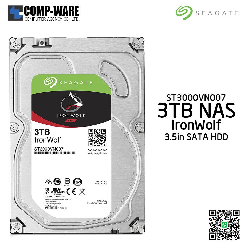 Seagate 3TB IronWolf NAS SATA 6Gb/s 5900RPM 64MB Cache 3.5-Inch Internal Hard Drive (ST3000VN007)