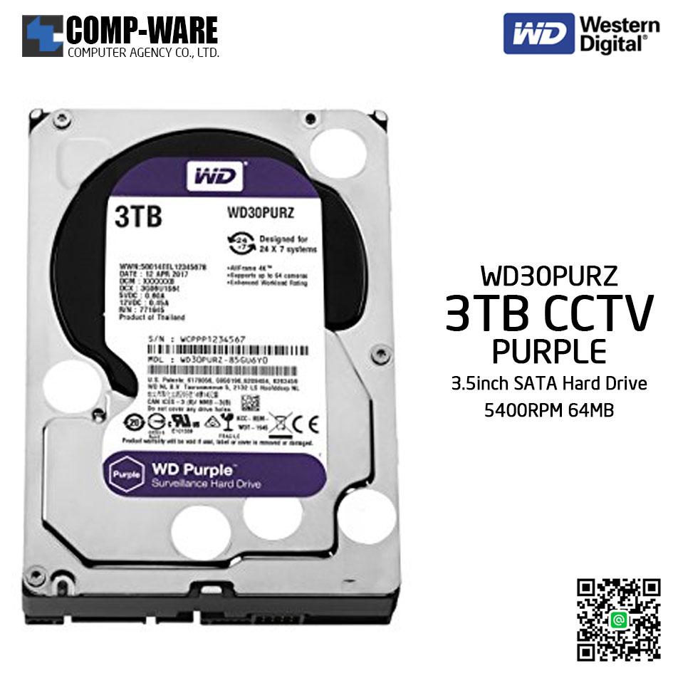 WD Purple 3TB AV Surveillance Hard Disk Drive - 5400RPM SATA 6Gb/s 64MB Cache 3.5 Inch - WD30PURZ