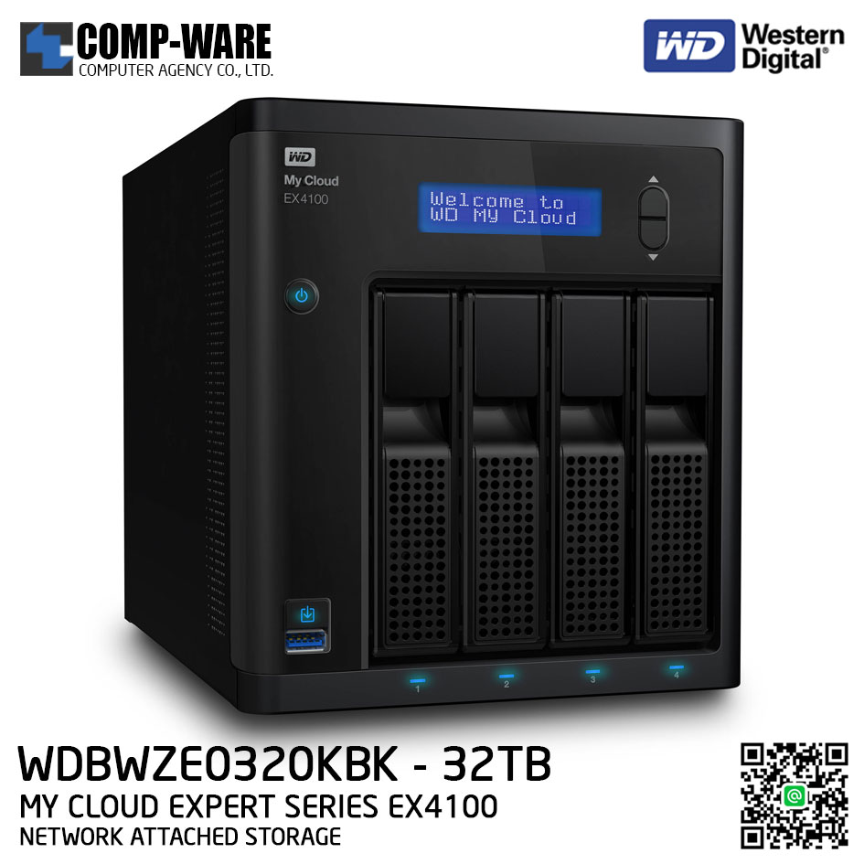 WD 32TB My Cloud Expert Series EX4100 4-Bay Network Attached Storage - WDBWZE0320KBK-SESN