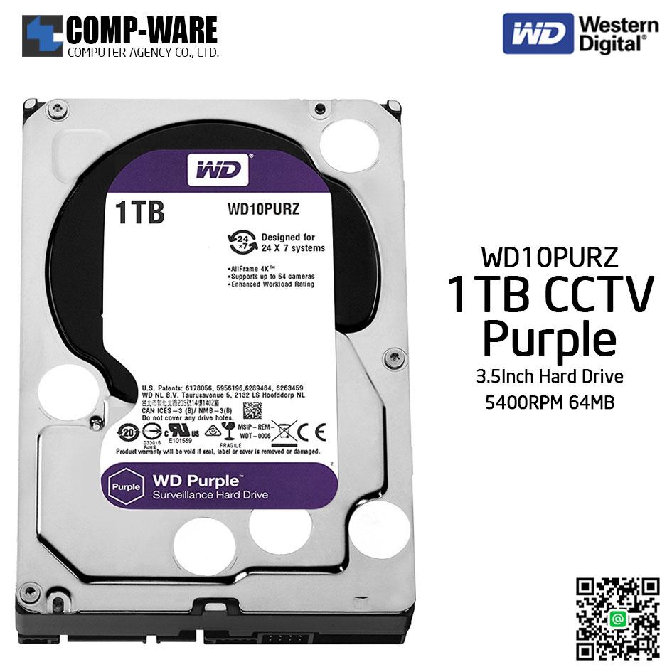WD Purple 1TB AV Surveillance Hard Disk Drive - 5400RPM SATA 6Gb/s 64MB Cache 3.5 Inch - WD10PURZ