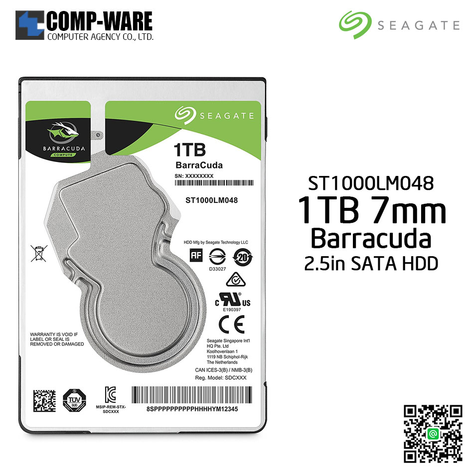 Seagate 1TB BarraCuda SATA 6Gb/s 128MB Cache 2.5-Inch 7mm Internal Hard Drive (ST1000LM048)