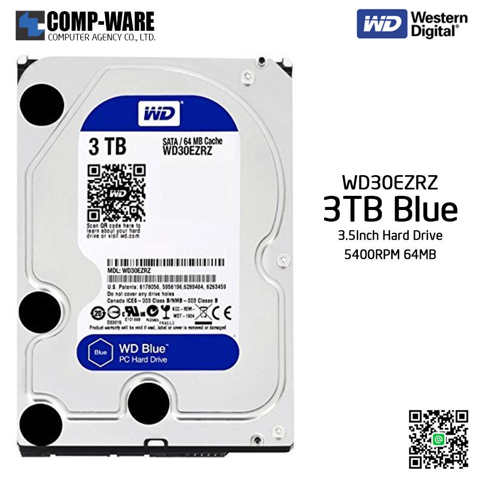 WD Blue 3TB Desktop Hard Disk Drive SATA 6 Gb/s 5400RPM 64MB Cache 3.5Inch - WD30EZRZ
