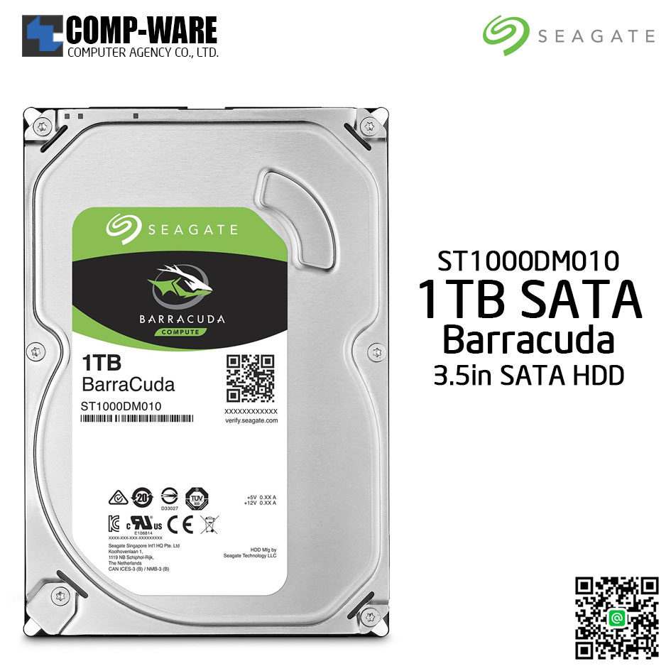 Seagate 1TB BarraCuda SATA 6Gb/s 7200RPM 64MB Cache 3.5-Inch Internal Hard Drive (ST1000DM010)