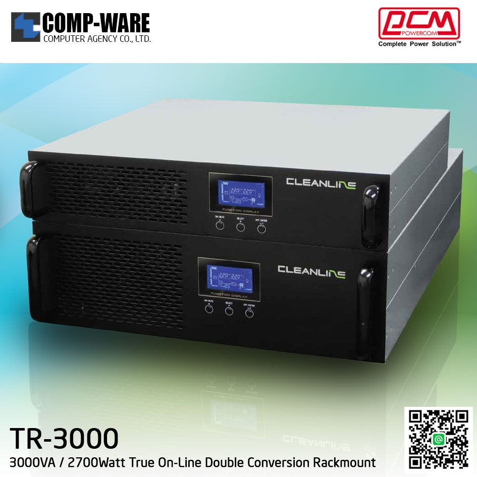 "PCM Cleanline UPS T Series (Rackmount 19"") 3000VA / 2700Watt True On-Line Double Conversion TR-3000"