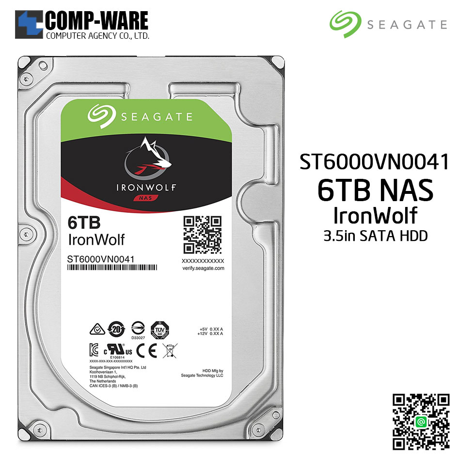 Seagate 6TB IronWolf NAS SATA 6Gb/s 7200RPM 128MB Cache 3.5-Inch Internal Hard Drive - ST6000VN0041