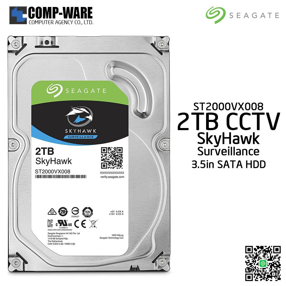 Seagate 2TB SkyHawk Surveillance Hard Drive - SATA 6Gb/s 5900RPM 64MB Cache 3.5-Inch Internal Drive (ST2000VX008)