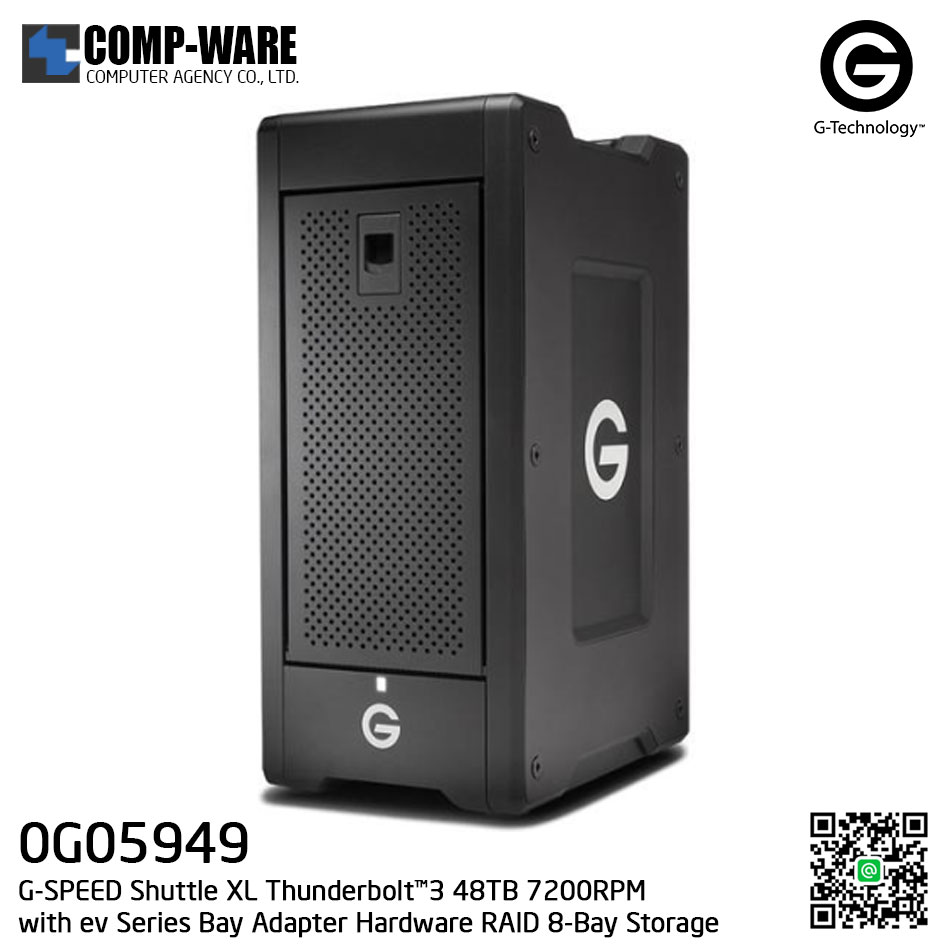 G-Technology G-SPEED Shuttle XL Thunderbolt™3 48TB 7200RPM with ev Series Bay Adapter Hardware RAID 8-Bay Storage Solution - 0G05949
