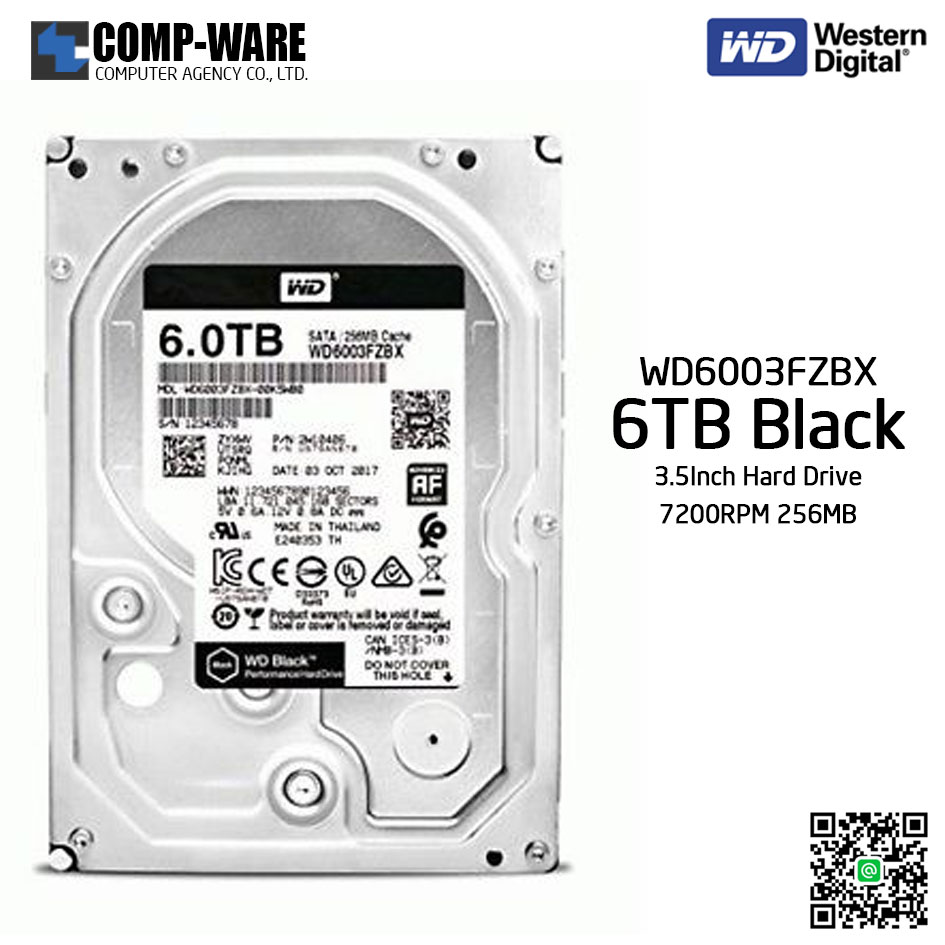 WD Black 6TB Performance Desktop Hard Disk Drive 7200RPM SATA 6Gb/s 256MB Cache 3.5 Inch - WD6003FZBX