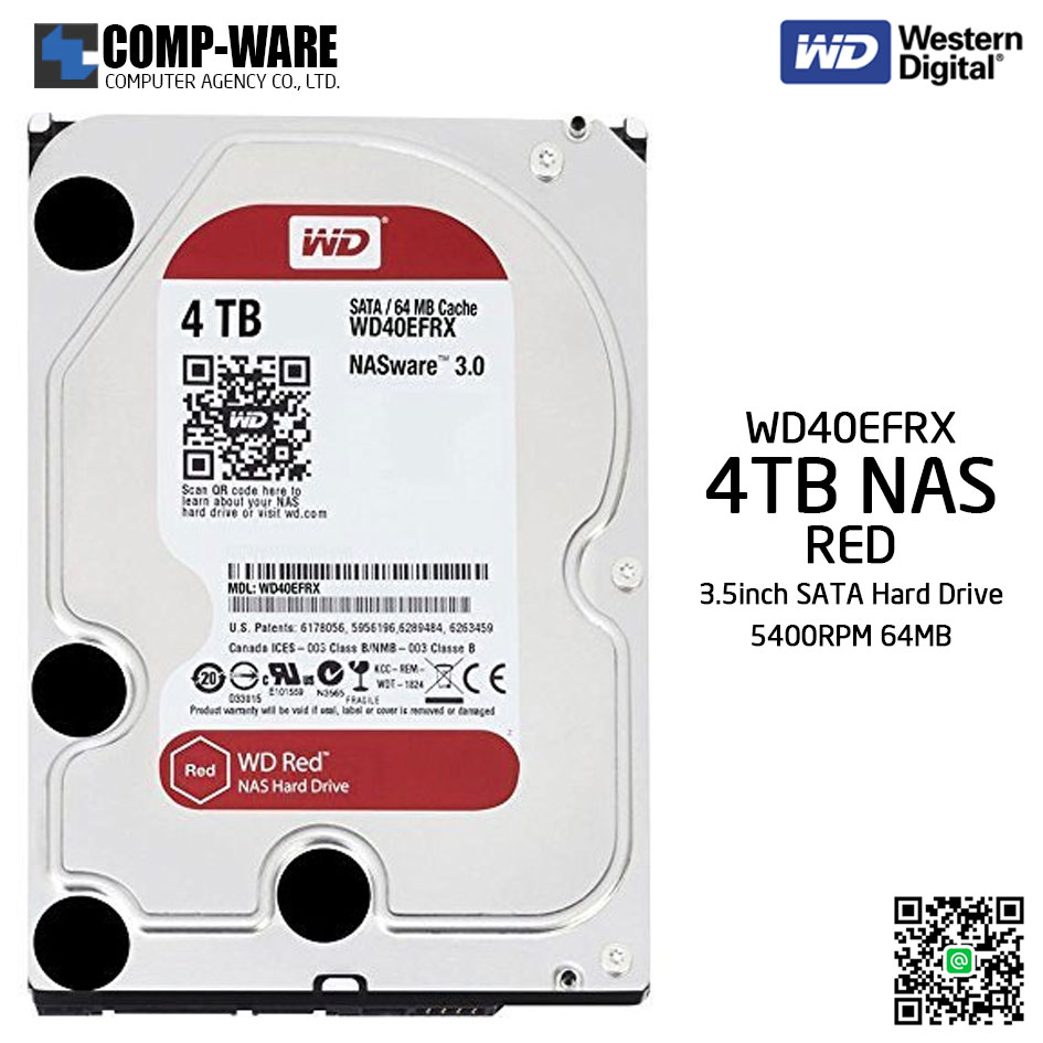 WD Red 4TB NAS Hard Disk Drive - 5400RPM SATA 6Gb/s 64MB Cache 3.5Inch - WD40EFRX
