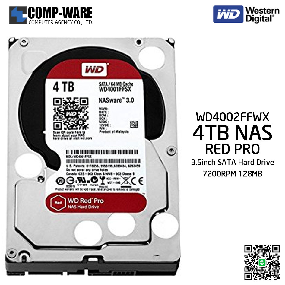 WD Red PRO 4TB NAS Hard Disk Drive - 7200RPM SATA 6Gb/s 128MB Cache 3.5Inch - WD4002FFWX