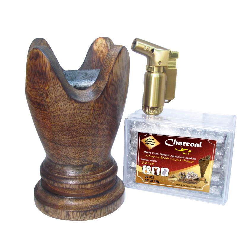 เตาเผาไม้หอม เตาเครื่องหอม ไม้กฤษณา ไม้จันทน์ กำยาน มดยอบ ชิ้นไม้ ยางไม้เรซิ่น ทำจากไม้เนื้อแข็งแท้100% + ถ่าน ถ่านเผา ถ่านไม้ ถ่านพิเศษ ชาโคล สำหรับจุดไฟเผา 1 กล่อง + ไฟแช็คไอพ่น ไฟฟู่ หัวพ่น คุณภาพสูง 1 ชิ้น