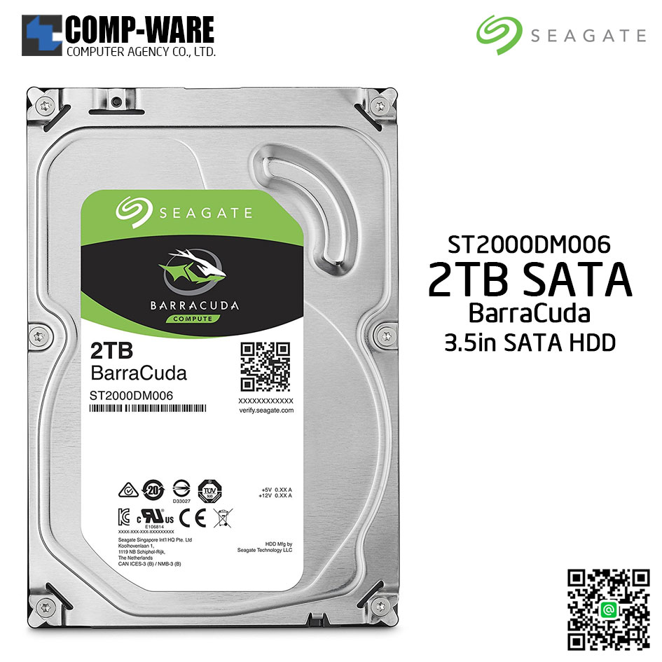 Seagate 2TB BarraCuda SATA 6Gb/s 7200RPM 64MB Cache 3.5-Inch Internal Hard Drive (ST2000DM006)