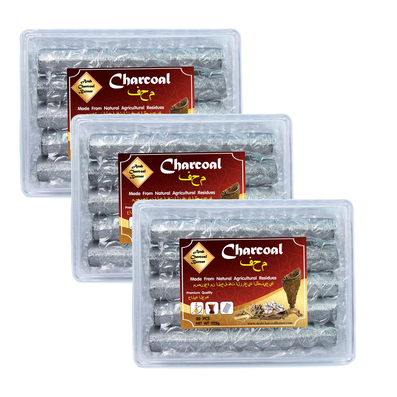 Arab Charcoal Burner ถ่านพิเศษ ถ่านชาโคล สำหรับจุดไฟเผา ชิช่า บารากุ ทำจากธรรมชาติ 100% ไร้กลิ่น ไร้ควัน ไม่มีประกายไฟ ปลอดภัย ไร้สารเคมี จุดนานถึง 3 ชมต่อชิ้น - 3 กล่อง