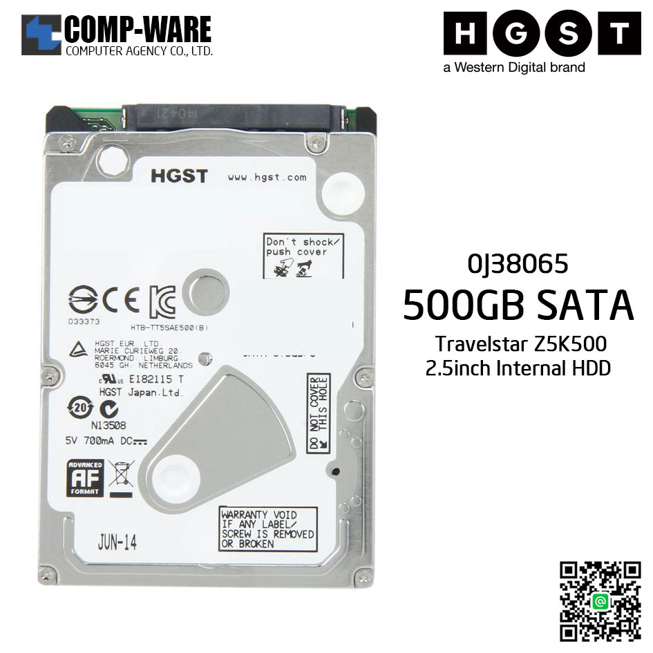 HGST Travelstar Z5K500 500GB 5400RPM SATA 6Gb/s 8MB Cache 2.5-Inch Internal Hard Drive 0J38065
