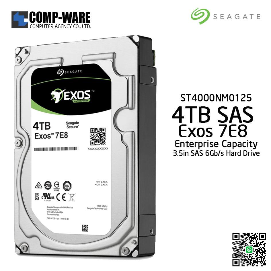 Seagate 4TB Exos 7E8 SAS 6Gb/s 512E 7200RPM 128MB Cache 3.5'' Enterprise Capacity Hard Drive - ST4000NM0125