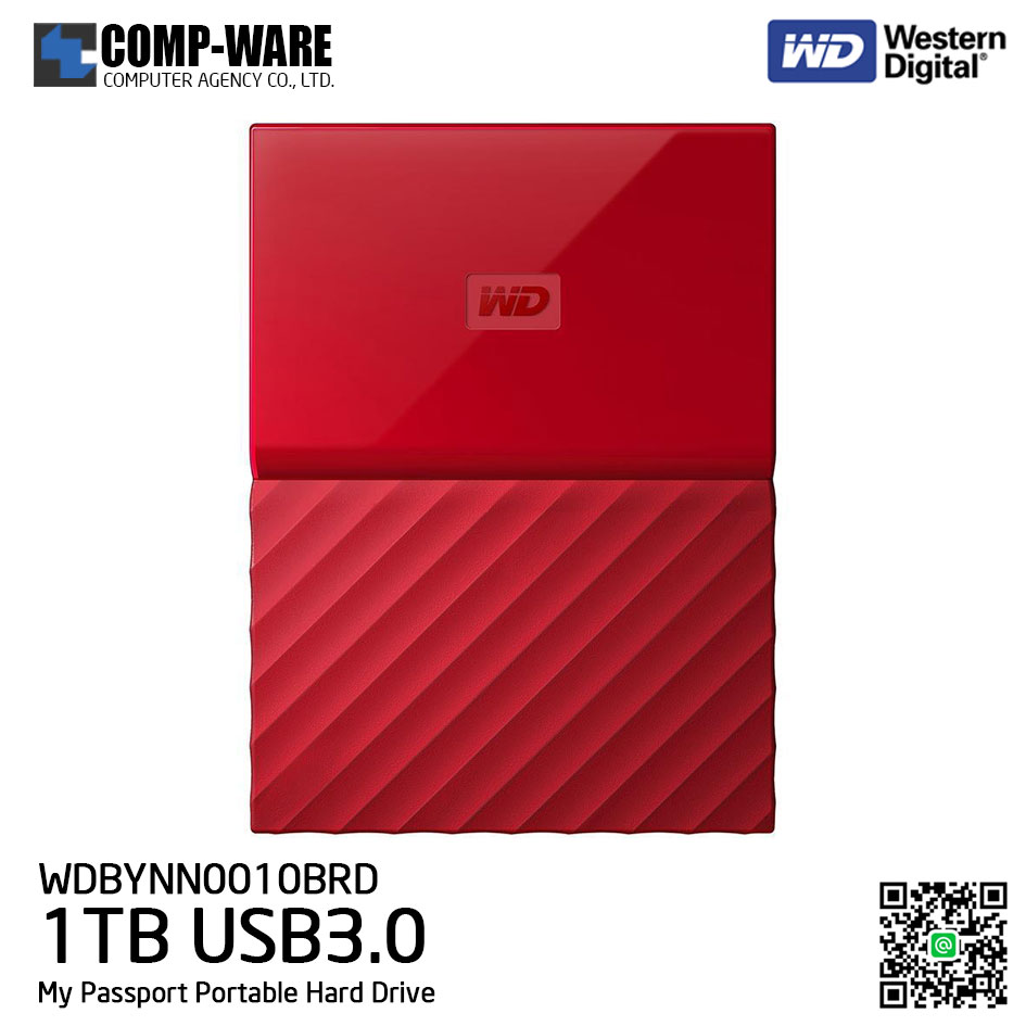 WD 1TB Red My Passport Portable External Hard Drive - USB 3.0 - WDBYNN0010BRD-WESN