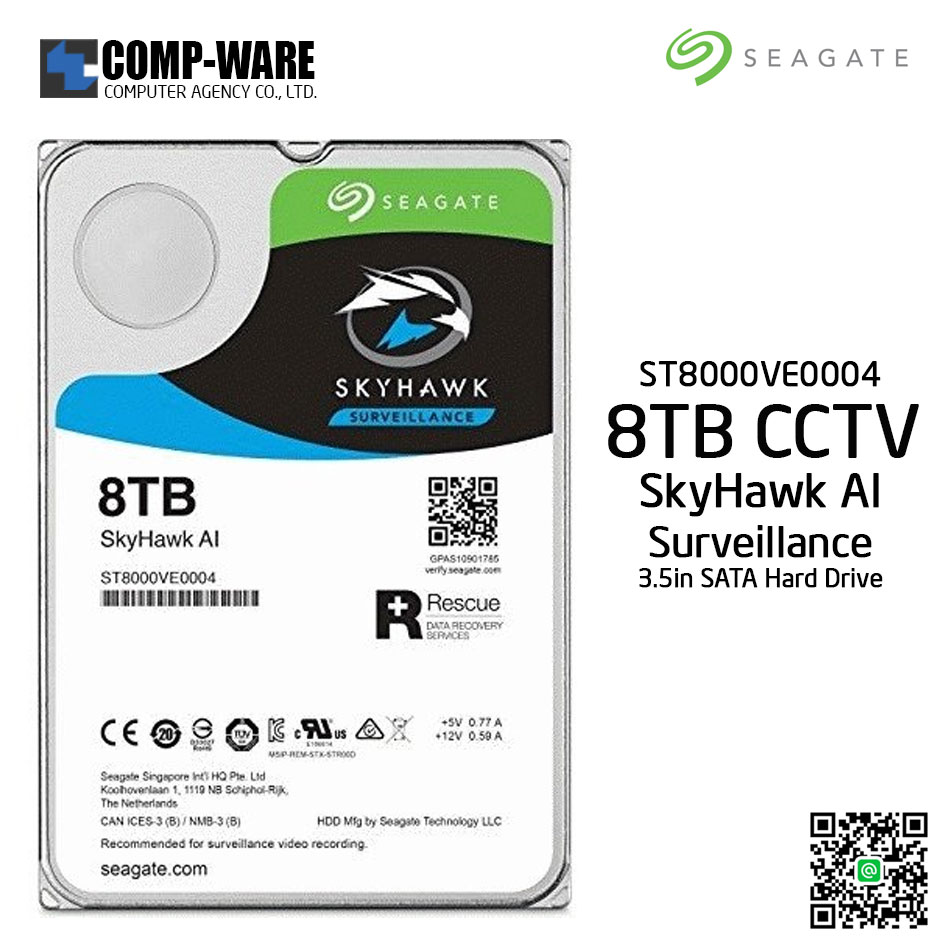 Seagate 8TB SkyHawk AI Surveillance SATA 6Gb/s 7200RPM 256MB Cache 3.5in Internal Drive - ST8000VE0004 (Free Rescue 2 Yrs)
