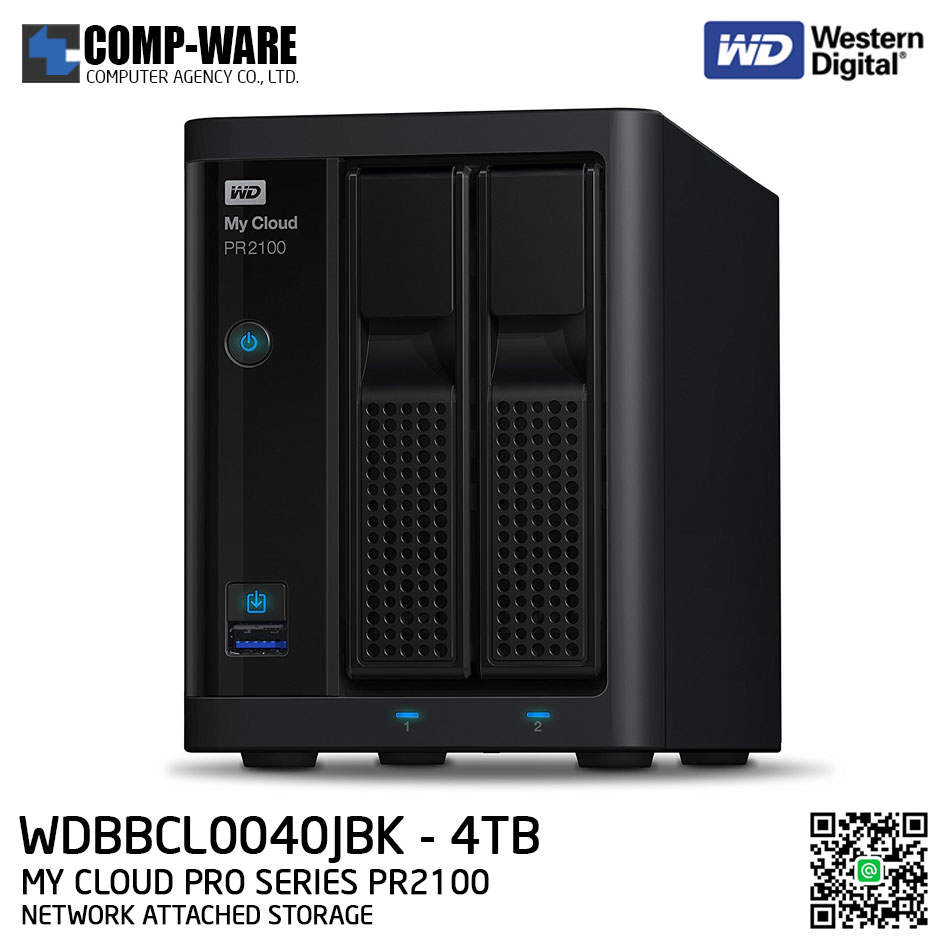 WD 4TB My Cloud Pro Series PR2100 2-Bay Network Attached Storage - WDBBCL0040JBK-SESN