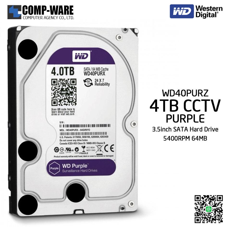 WD Purple 4TB AV Surveillance Hard Disk Drive - 5400RPM SATA 6Gb/s 64MB Cache 3.5 Inch - WD40PURZ