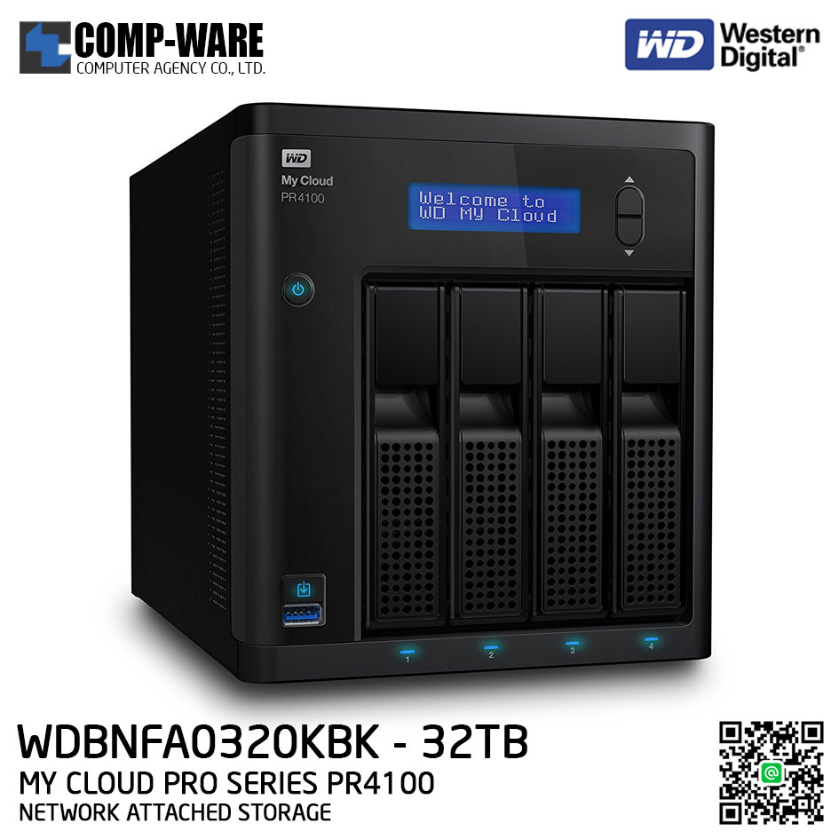 WD 32TB My Cloud Pro Series PR4100 4-Bay Network Attached Storage - WDBNFA0320KBK-SESN