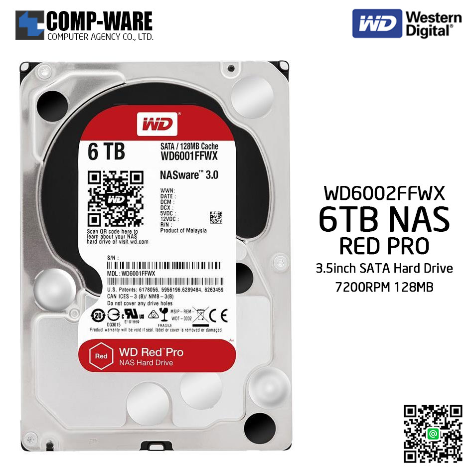 WD Red PRO 6TB NAS Hard Disk Drive - 7200RPM SATA 6Gb/s 128MB Cache 3.5Inch - WD6002FFWX