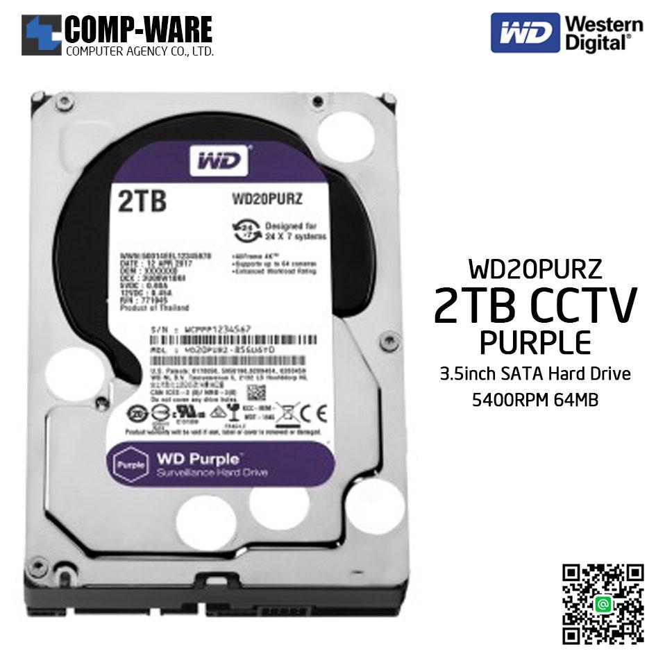 WD Purple 2TB AV Surveillance Hard Disk Drive - 5400RPM SATA 6Gb/s 64MB Cache 3.5 Inch - WD20PURZ