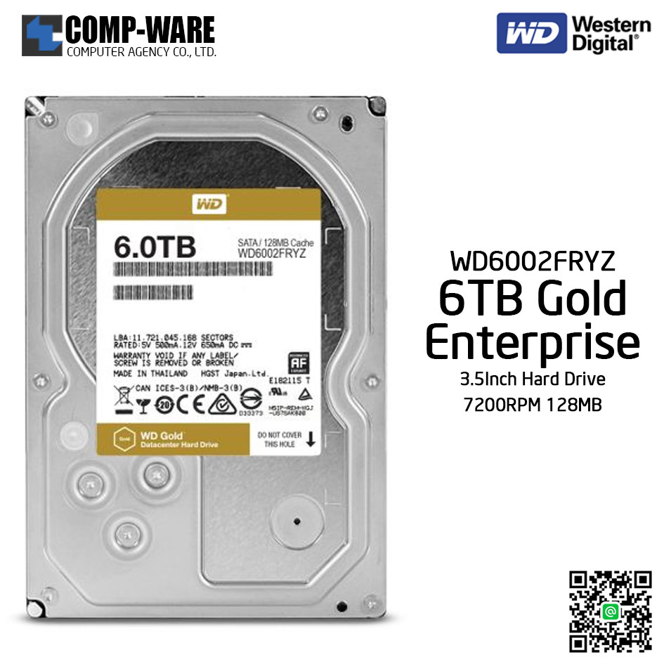 WD Gold 6TB Enterprise Class Hard Drive 7200RPM SATA 6Gb/s 128MB Cache 3.5Inch - WD6002FRYZ