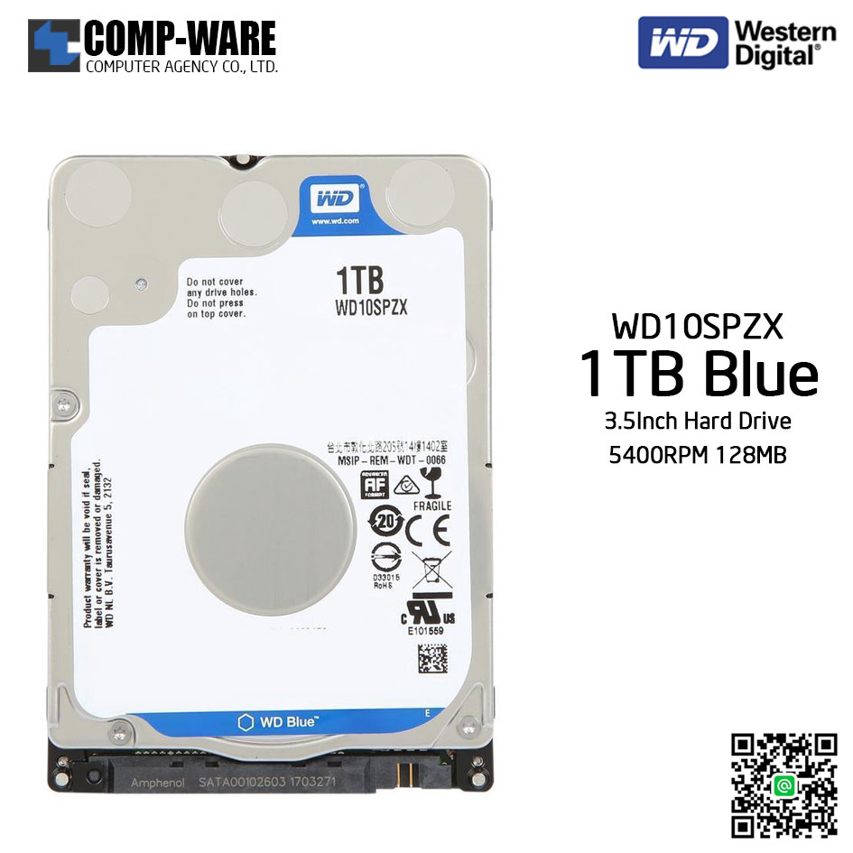 WD Blue 1TB Mobile Hard Disk Drive - 5400RPM SATA 6Gb/s 128MB Cache 2.5Inch - WD10SPZX