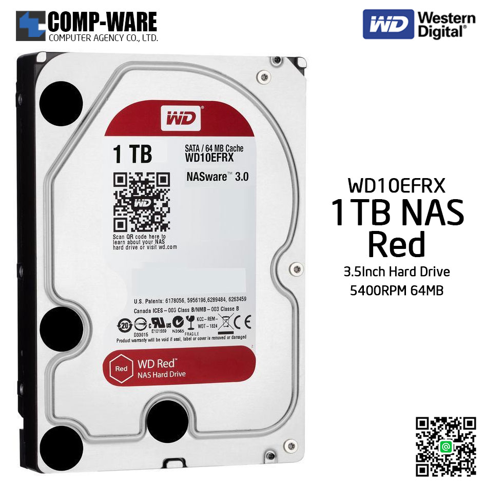 WD Red 1TB NAS Hard Disk Drive - 5400RPM SATA 6Gb/s 64MB Cache 3.5Inch - WD10EFRX