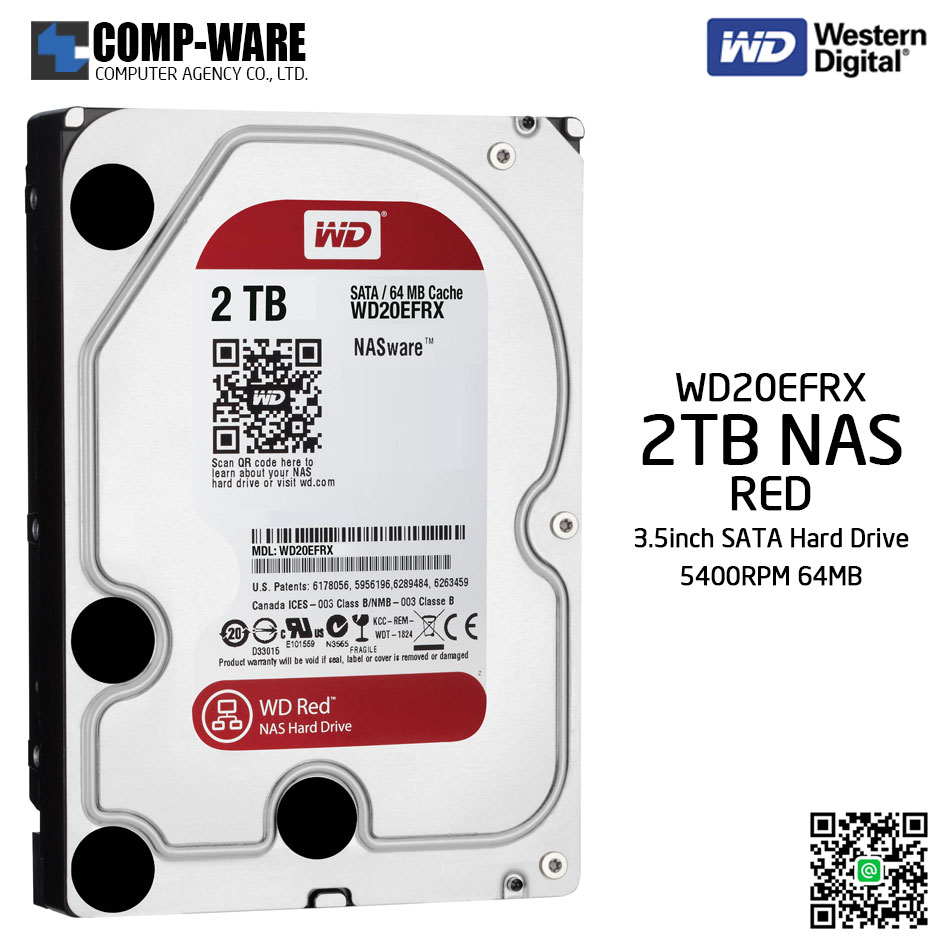WD Red 2TB NAS Hard Disk Drive - 5400RPM SATA 6Gb/s 64MB Cache 3.5Inch - WD20EFRX