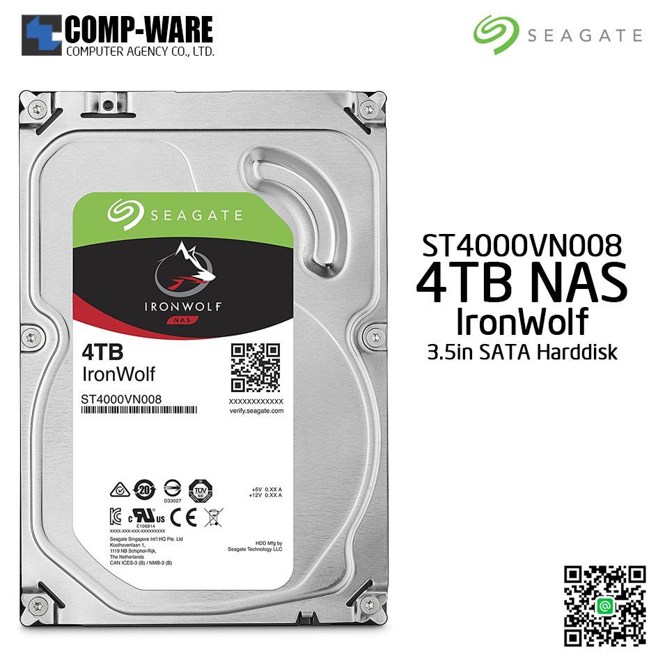 Seagate 4TB IronWolf NAS SATA 6Gb/s 5900RPM 64MB Cache 3.5-Inch Internal Hard Drive (ST4000VN008)