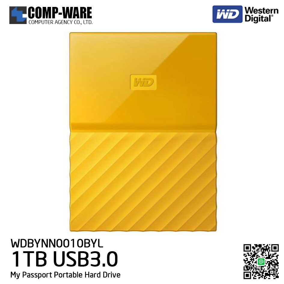 WD 1TB Yellow My Passport Portable External Hard Drive - USB 3.0 - WDBYNN0010BYL-WESN