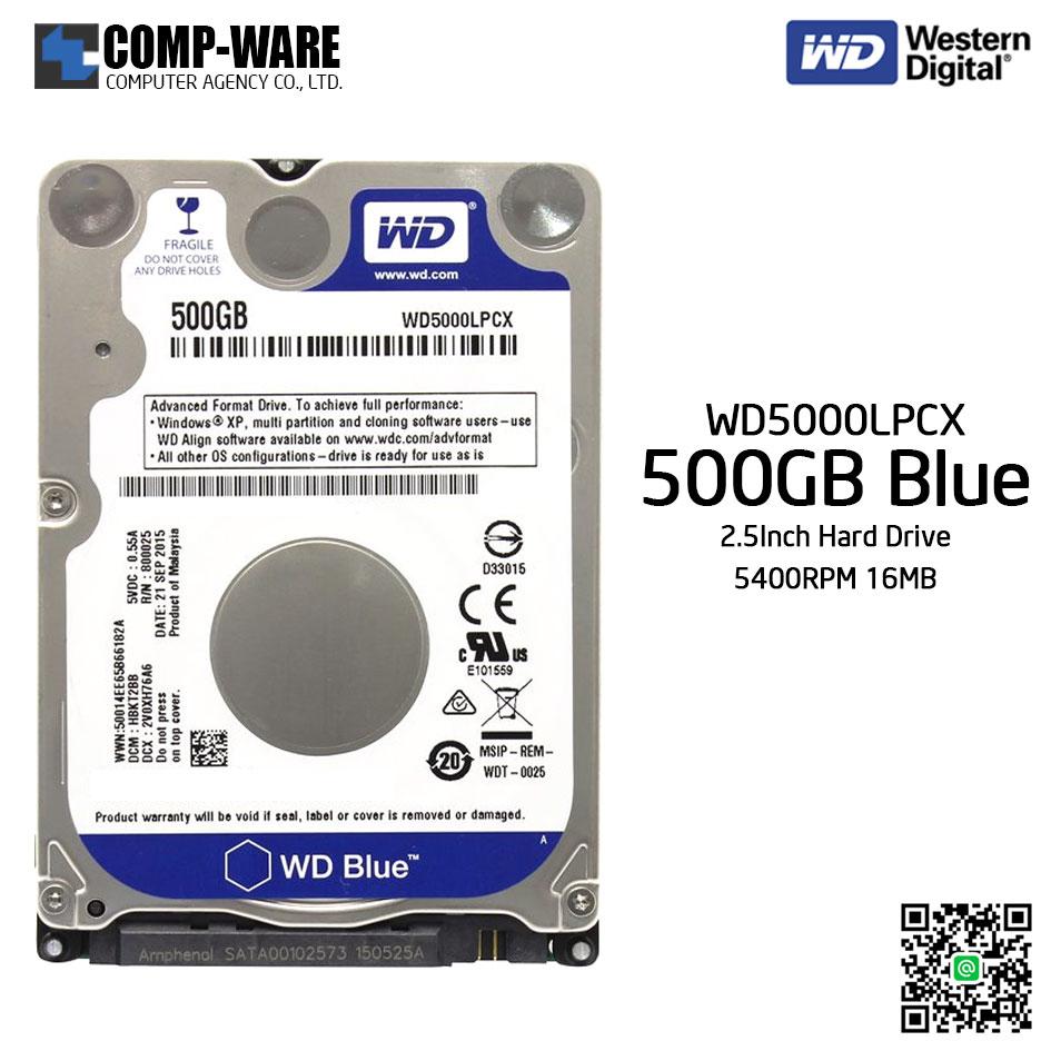 WD Blue 500GB Notebook Laptop Hard Drive SATA 6Gb/s 5400RPM 16MB Cache 2.5Inch - WD5000LPCX