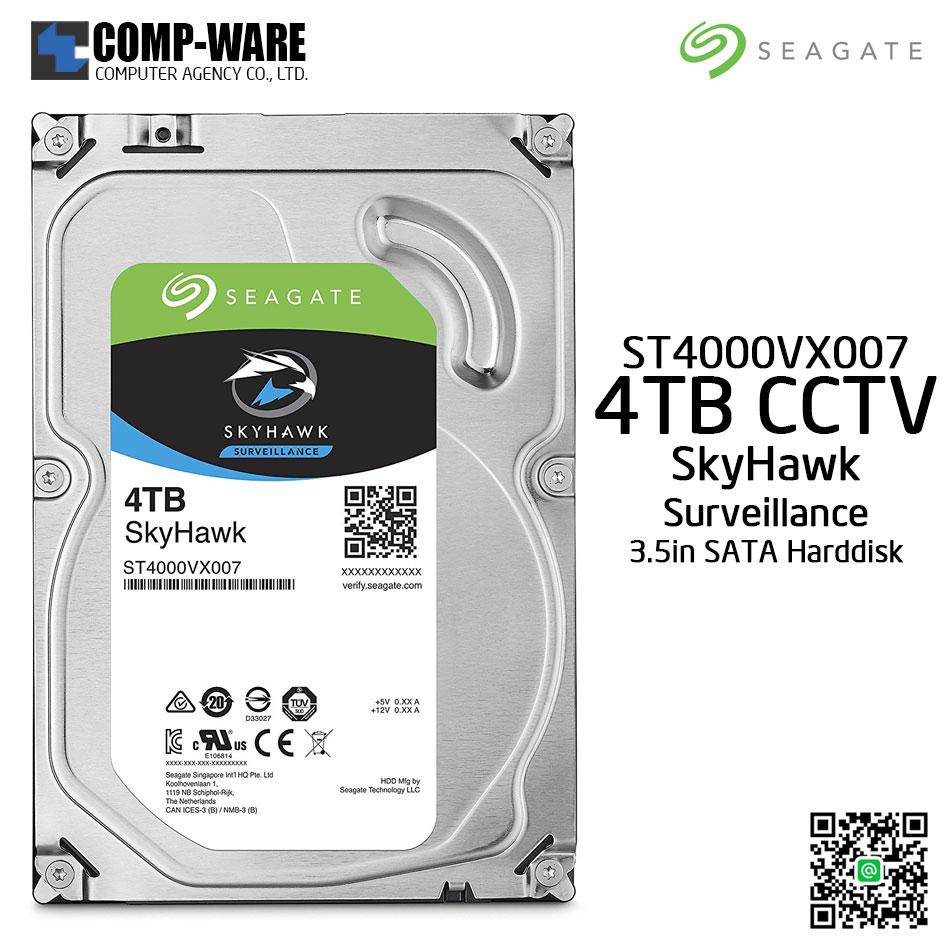 Seagate 4TB SkyHawk Surveillance Hard Drive - SATA 6Gb/s 5900RPM 64MB Cache 3.5-Inch Internal Drive (ST4000VX007)