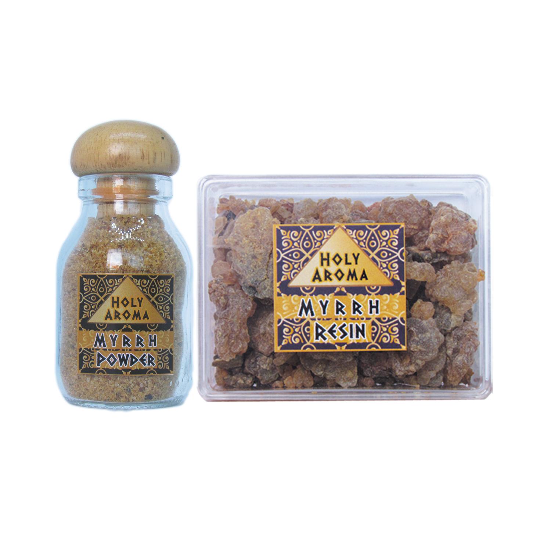เม็ดมดยอบ เรซิ่น อโรม่า Myrrh Resin Gum Tear แท้ 100% 50g + ผงมดยอบ อโรม่า Myrrh Powder แท้ 100% 40g