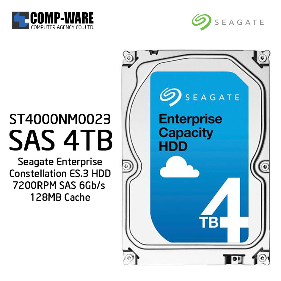 Seagate Enterprise Constellation ES.3 HDD 4TB 7200RPM SAS 6Gb/s 128MB Cache Internal Hard Drive ST4000NM0023
