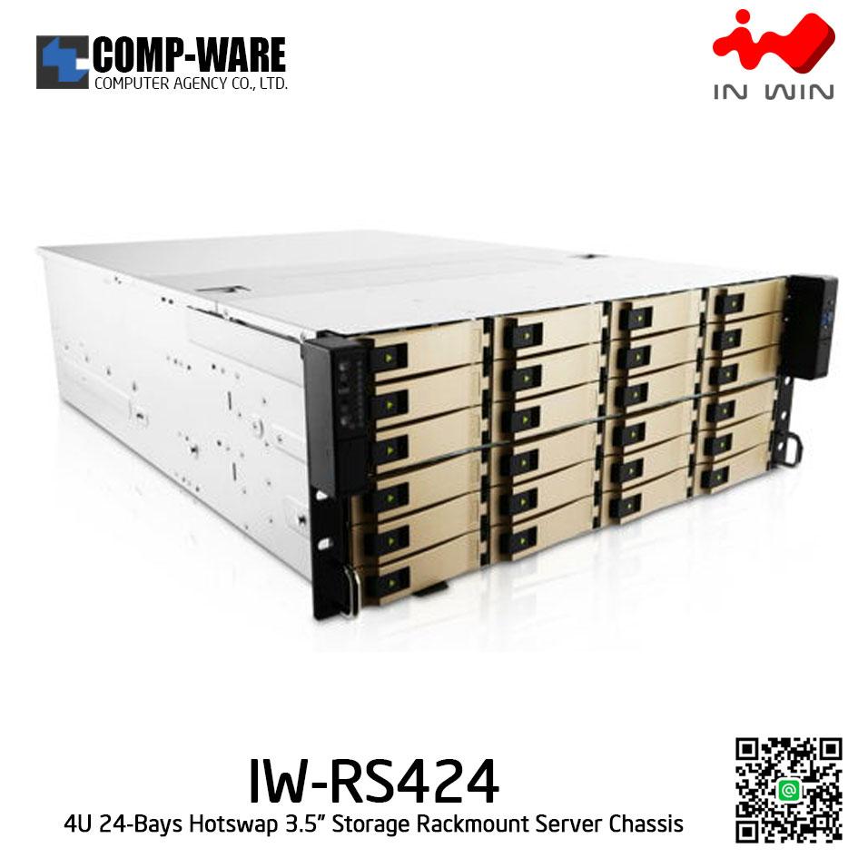 In Win Rackmount Server Chassis IW-RS424 4U 24-Bays, 800W Redundant supplies, slide rail