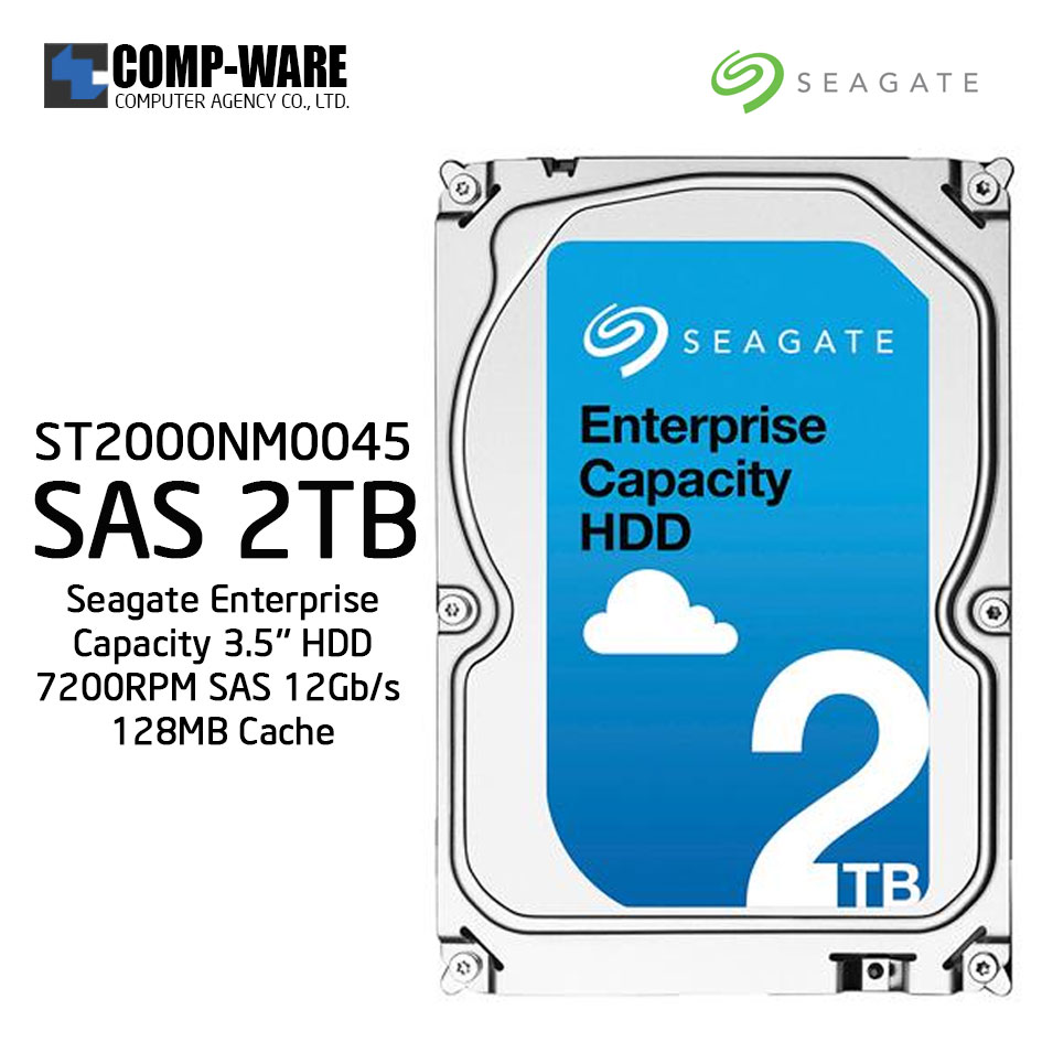 Seagate Enterprise Capacity 3.5'' HDD 2TB 7200RPM SAS 12Gb/s 128MB Cache Internal Hard Drive ST2000NM0045