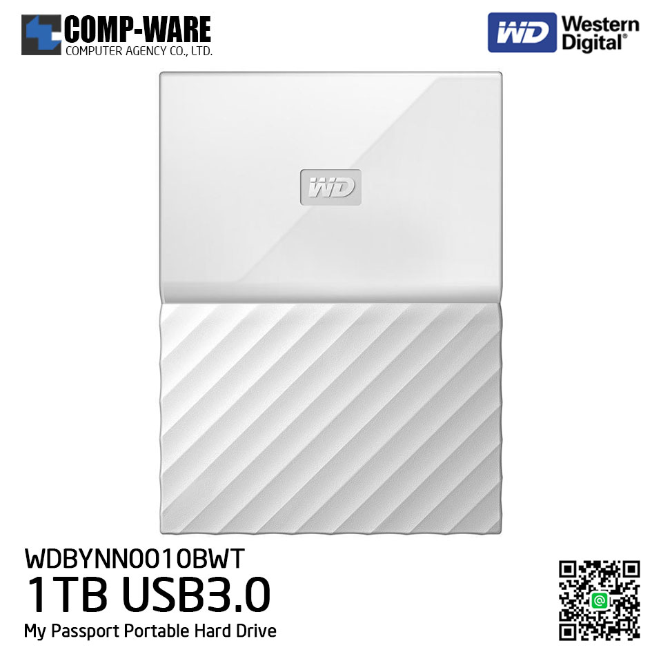 WD 1TB White My Passport Portable External Hard Drive - USB 3.0 - WDBYNN0010BWT-WESN