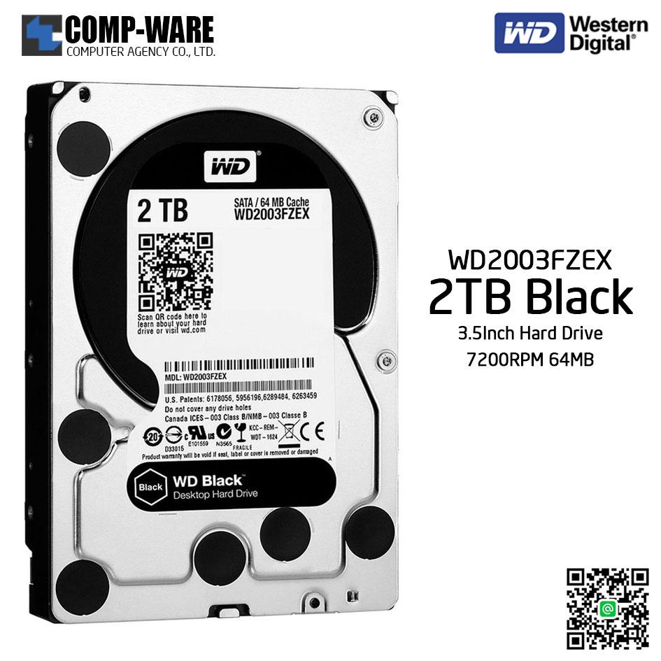 WD Black 2TB Performance Desktop Hard Disk Drive 7200RPM SATA 6Gb/s 64MB Cache 3.5 Inch - WD2003FZEX