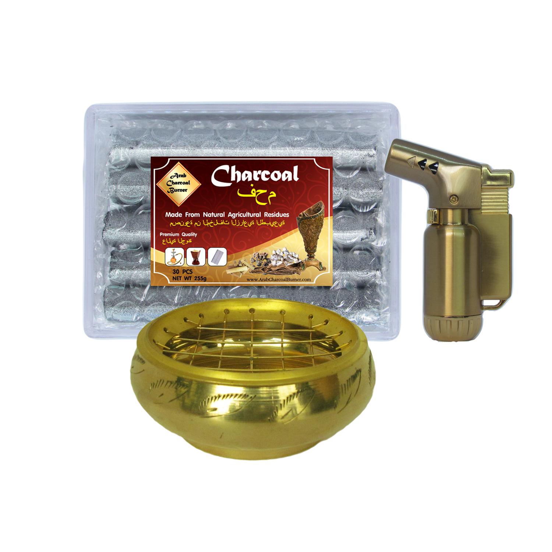 เตาเผาไม้หอม ทองเหลือง กระถางธูป + ถ่าน ถ่านเผา ถ่านไม้ ถ่านพิเศษ ชาโคล สำหรับจุดไฟเผา 1 กล่อง + ไฟแช็คไอพ่น ไฟฟู่ หัวพ่น คุณภาพสูง 1 ชิ้น