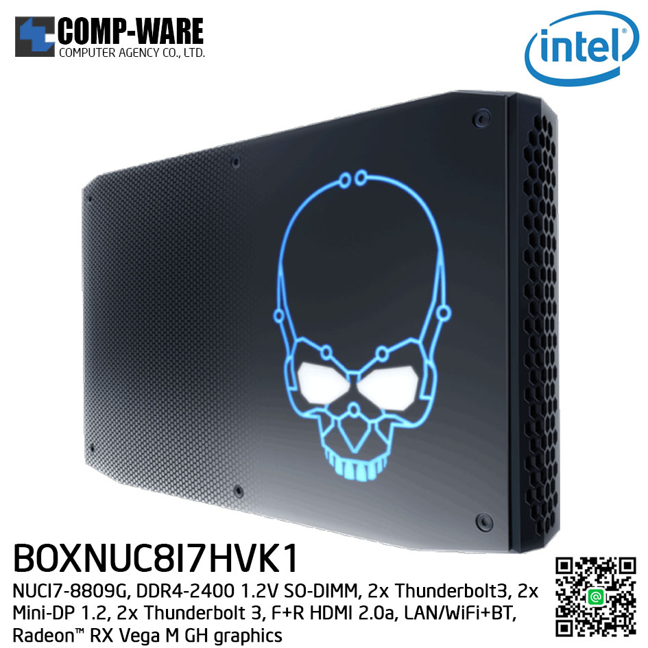 Intel NUC8I7HVK1 Mini PC NUC Kit - (Core I7-8809G, DDR4-2400+ 1.2V SO-DIMM, 2x Thunderbolt3, 2x Mini-DP 1.2, 2x Thunderbolt 3, F+R HDMI 2.0a, LAN/WiFi+BT, Radeon™ RX Vega M GH graphics) BOXNUC8I7HVK1