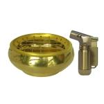 เตาเผาไม้หอม กระถางธูป เครื่องหอมทุกชนิด ทำจากทองเหลืองแท้ + ไฟแช็คไอพ่น ไฟฟู่ 1ชิ้น