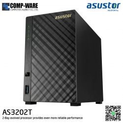 Asustor (2-Bay) AS3202T Intel Celeron 1.6GHz Quad-Core 2GB RAM Home NAS to Power User (30-100 user) 3 Years Warranty