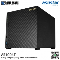 Asustor (4-Bay) AS1004T Marvell ARMADA-385 1GHz Dual-Core 512MB RAM Personal Cloud to Home NAS - 3 Years Warranty
