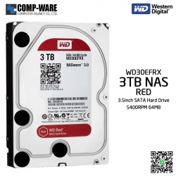 WD Red 3TB NAS Hard Disk Drive - 5400RPM SATA 6Gb/s 64MB Cache 3.5Inch - WD30EFRX