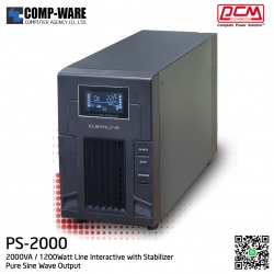 PCM Cleanline UPS PS Series 2000VA / 1200Watt Line Interactive with Stabilizer ( Pure Sine Wave Output ) PS-2000