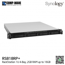 Synology RackStation (1U 4-Bay) RS818RP+ (2GB RAM) Redundant Power Supply - Rail kit (not included)