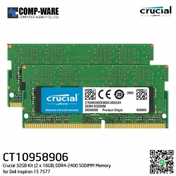 Crucial 32GB Kit (2 x 16GB) DDR4-2400 SODIMM Memory - CT10958906 for Dell Inspiron 15 (7577)