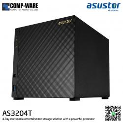 Asustor (4-Bay) AS3204T Intel Celeron 1.6GHz Quad-Core 2GB RAM Home NAS to Power User (30-100 user) 3 Years Warranty